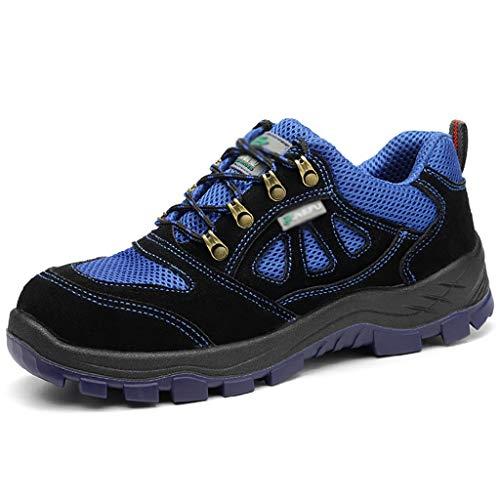 Zapatos de seguridad Hombres para mujer Punción a prueba de punciones antideslizante Línea de gamuza de gamuza de gamuza transpirable Trabajo de la construcción de los zapatos de seguridad de los pies