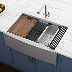 Ruvati 33-inch Apron-front Workstation Farmhouse Single Bowl Kitchen Sink