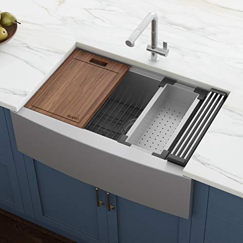 Ruvati 27-inch Apron-front Workstation Farmhouse Kitchen Sink 16 Gauge Stainless Steel Single Bowl - RVH9050