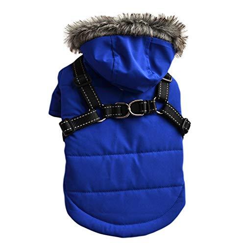 Savlot Winter Hundejacke Winter Weste Windbreaker Pet Warmer Mantel Hunde Hoodie Hundemantel mit Brustgurt Geschirr für kleine Hunde