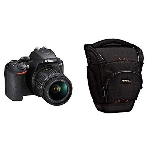 Nikon D3500 Fotocamera Reflex Digitale con Obiettivo Nikkor AF-P 18/55VR, LCD 3', SD da 16 GB 300x Premium Lexar, Nero & AmazonBasics - Custodia per macchine fotografiche reflex, colore: Nero