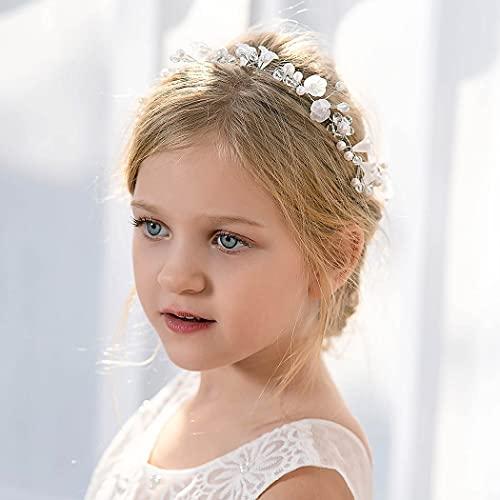 IYOU Prinzessin Blume Kopfschmuck Weiß Perle Stirnband Floral Kristall Braut Hochzeit Haarschmuck für Blumenmädchen