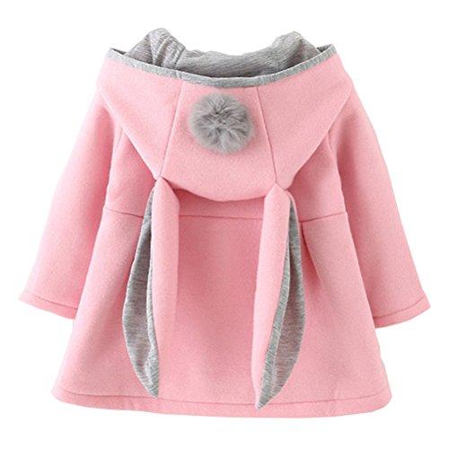 Baby Girls Winter Autumn Cotton Warm Jacket Coat (2T, Pink)