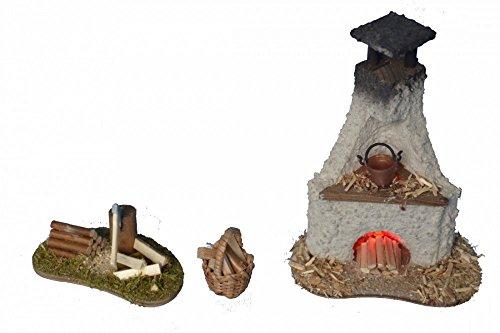 Backofen beleuchtet, Hackstock und Holzkorb für Krippe Weihnachtskrippe Krippenstall Krippenzubehör