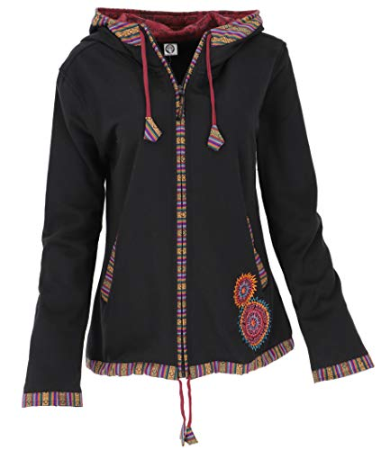 GURU SHOP Nepal Ethno Jacke, Bestickte Jacke, Damen, Schwarz/rot, Baumwolle, Size:XL (42), Boho Jacken, Westen Alternative Bekleidung
