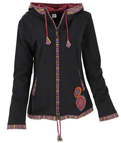 GURU SHOP Nepal - Chaqueta étnica bordada para mujer, algodón, estilo bohemio, ropa alternativa, blanco / rojo, 38