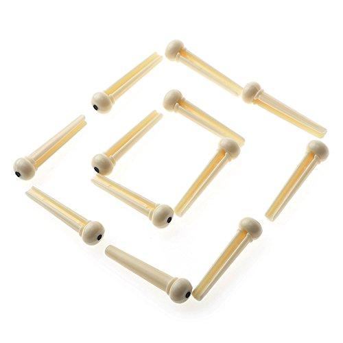 Simtyso 12pcs Ivory Acoustic Guitar ABS Plastic Bridge Pins