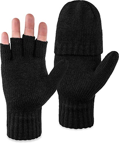 normani Outdoor Sports Fäustlinge Strickhandschuhe Unisex mit umklappbarer Klappe Halbfinger Größe L