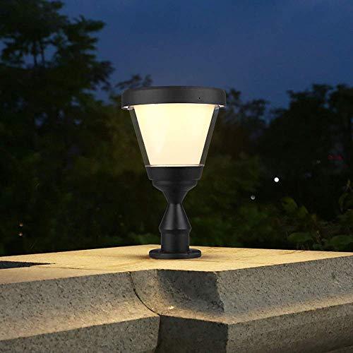 YUNTAO Lámparas decorativas E27 lámpara al aire libre de la lámpara de pedestal Negro de aluminio moderna y PC-Sombra a prueba de agua la columna del jardín lámpara de luz de la lámpara de pedestal fo