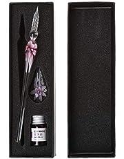 Pen, Heallege Vintage Handgemaakte Kunst Elegante Crystal Bloemen Glas Dip Pen Teken Inkt Pennen Gift