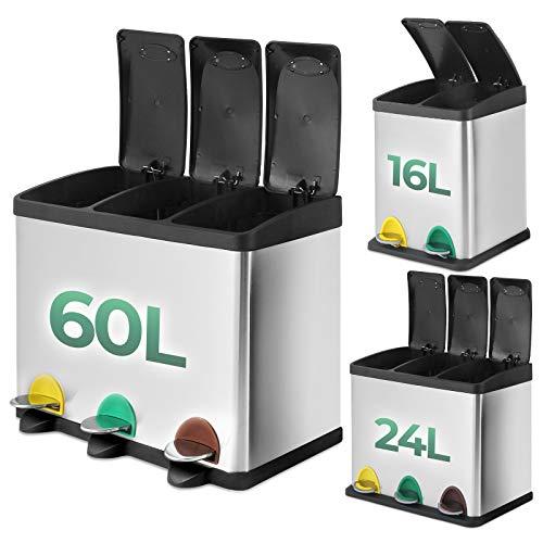 Jago® Abfallbehälter – 16L/24L/60L, 2 oder 3 fächer, Edelstahl, mit Inneneimer, mit Handgriff, Groß - Mülltrenner für Küche, Mültrennsystem, Mülleimer, Abfallsammler, Treteimer (60 Liter (3 x 20L))