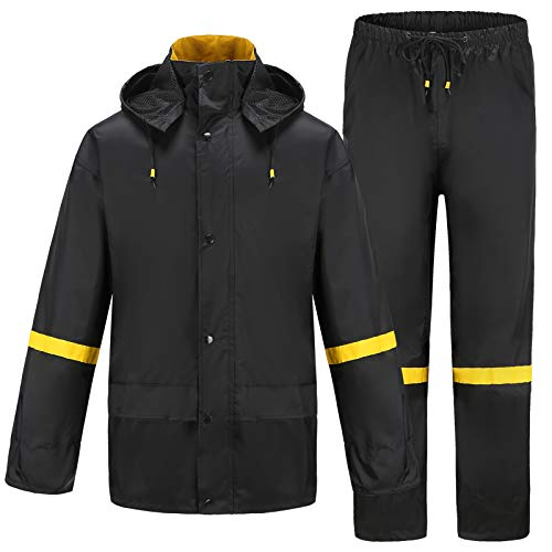Ourcan Rain Suits for Men Fishing Rain Gear for Men Waterproof Lightweight Rain Coats for Men Waterproof with Hood and Pants (Black,XL)