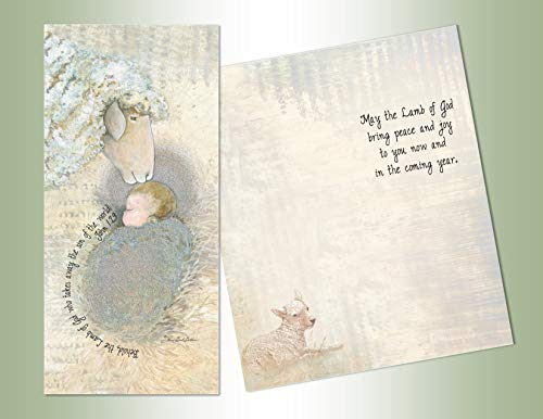 LPG PERFORMING ARTS BOXED CHRISTMAS CARDS Lamb of God Long Non-flake Glitter Embellished Boxed Christmas Cards with Full Color Inside Designs (14 glitter cards, 14 envelopes), 66267