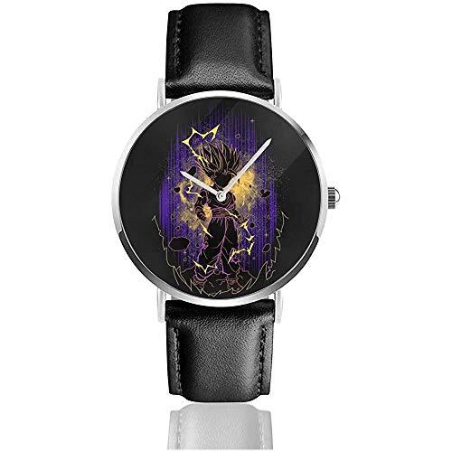 Dragon Ball Z Gohan Shadow Watches Reloj de Cuero de Cuarzo con Correa de Cuero Negra para Regalo de colección