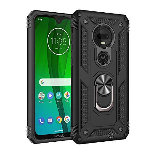 Rebex Compatible with Moto G7 Case Cover,Moto G7+ Plus Case,Tough Heavy Protective 360 Metal Rotating Ring Kickstand Holder Grip Magnetic Metal Armor Heavy Duty Shockproof (Dark Black)