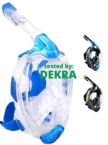 Khroom Máscara de Snorkel Segura para CO2, Máscara Facial de Esnórquel Antivaho | Seaview X - Máscara de Buceo para Adultos y niños (Azul Claro, L/XL)