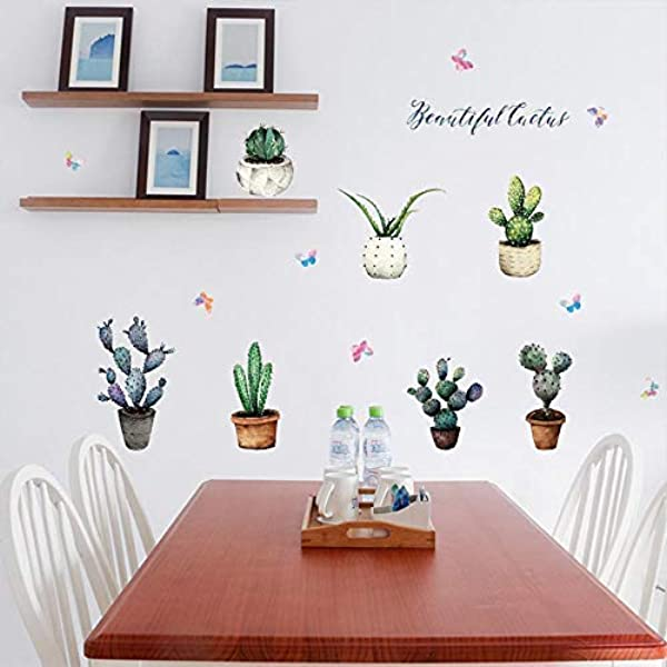16pcs DIY Removable Cactus Green Plants Art Mural Waterproof Cacti Flower Butterfly Wall Stickers Children Room Decor Cactus Festival Decal Sticker