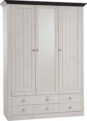 Steens Monaco Kleiderschrank, 3 Türen und 3 Schubladen, 145 x 201 x 60 cm (B/H/T), Kiefer massiv, weiß/kolonial