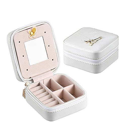 Xhtoe Schmuck-Box Schmuck-Box Travel Case Organizer for Ringe Halskette mit Spiegel for Frauen und Mädchen Schmuck Vitrine (Color : Silver, Size : 10X10X5CM)