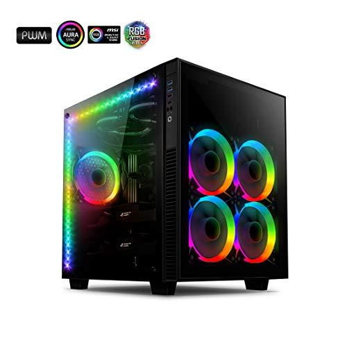 anidees AI Crystal Cube AR V3 EATX/ATX PC Gaming Gehäuse mit Zwei Kammern aus gehärtetem Glas mit 5 RGB PWM Lüftern / 2 LED Streifen - Schwarz AI-CL-Cube-AR3