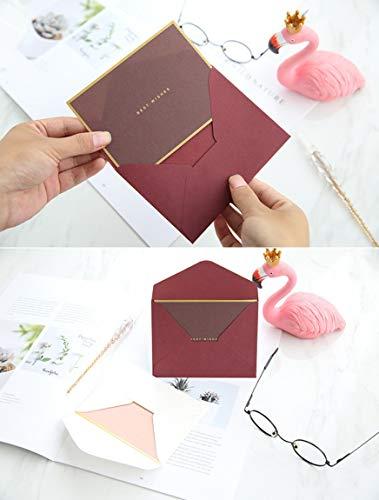 金縁高級おしゃれな厚手クラフト紙封筒付メッセージカード4色32組セット上品感謝状お祝いグリーティングカード