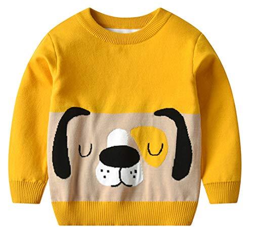 DEMU baby jongens lange mouwen ronde hals cartoon gebreide trui sweater trui cardigan sweatshirt 100 geel