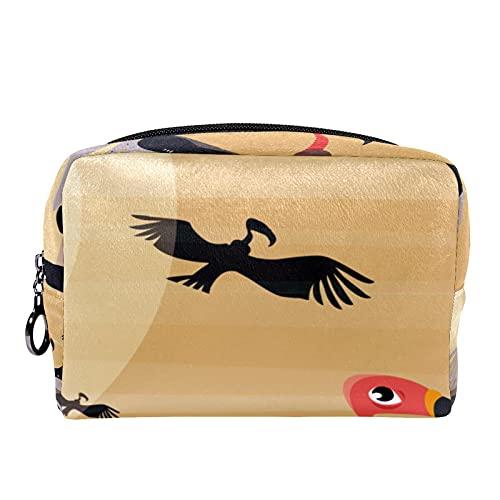 Kompakte Make-up-Tasche Tragbare Reisekosmetiktaschen Kulturbeutel,Tier Bussard Vogel