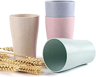 Reusable Plastic Cup, Unbreakable Wheat Straw Drinking Cup for Beverage, Eco Friendly Healthy Multi color Set of 4, baby c...
