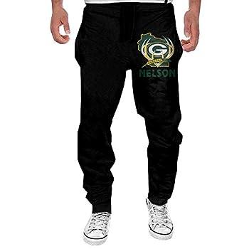 QQQDDD Men s Go Packers #87 Jordy Nelson Fleece Pants Black Geek