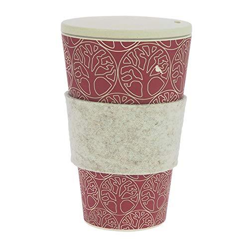 ebos Coffee-to-Go-Becher aus Bambus, incl. Schraubdeckel | wiederverwendbar, natürliche Materialien, umweltfreundlich, spülmaschinengeeignet, verschiedene Designs (BdL Beere)