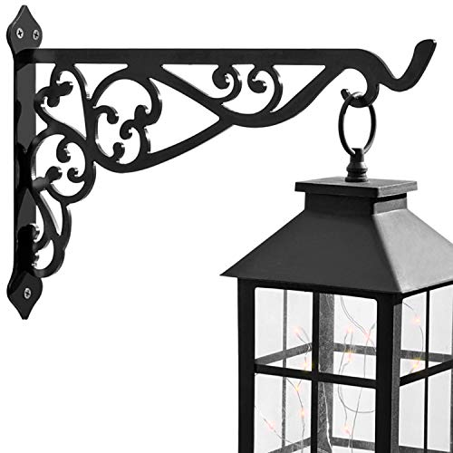 APBFH 14in Hanging Plant Bracket Outdoor Decorative Iron Plant Lantern Birdfeeder Wall Hanger Hook for Hanging Metal Sign Fruit Bracket Bug Zapper Windchime, Black
