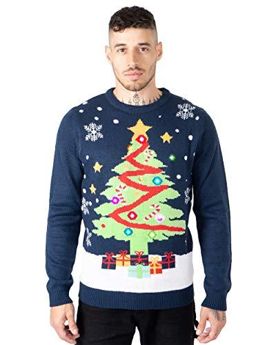NOROZE Men's LED Christmas Jumper Unisex Gift Tree Elf...