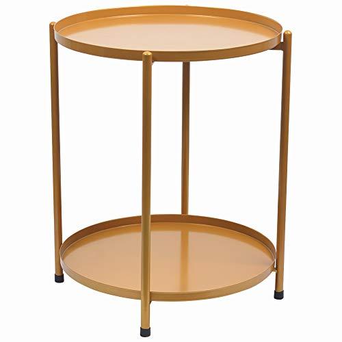 H JINHUI Mesa auxiliar redonda de metal con doble nivel, bandeja extraíble, mesa de noche, mesa de café para bebidas al aire libre e interior, antioxidante e impermeable (dorado)