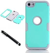 iPod Touch 6th Generation Case,Lantier 3 Layers Verge Hybrid Soft Silicone Hard PC Plastic TUFF Triple Quakeproof Drop Resistance Protective Case Cover with Stylus Palm Mint Green/White
