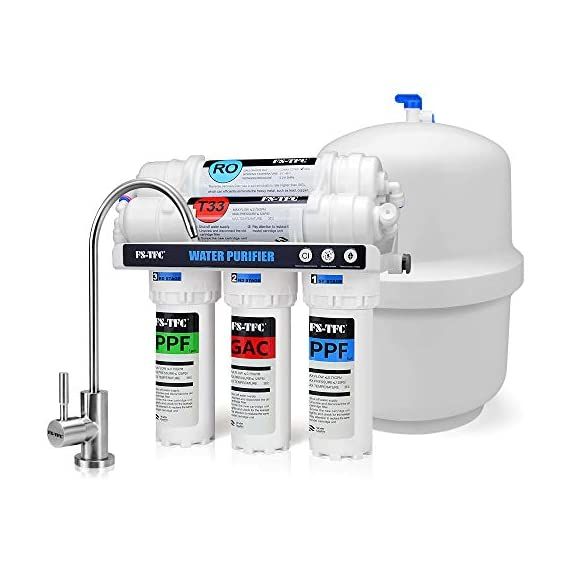 FS-TFC 5-Stage Reverse Osmosis Water Filtration System 100GPD Fast Flow Plus Extra 4 Filter for Free (FS-RO-100G-A) 1 Supreme quality - designed, and assembled to guarantee water safety & your health.Remove Rate up to 99.999%,including chlorine, taste, odor, VOCs, as well as toxic fluoride, arsenic, lead, nitrates, heavy metals and 1000+ contaminants.Experience clean, safe, good-tasting water every time you turn on the faucet. Enjoy crystal clear ice cubes, fresher tea and coffee, better tasting foods, healthier baby formula – even better than most bottled water. Mini Size -High Flow Designed :Developed for household and commercial use, This Water Filtration System can be installed in your kitchen, bathroom, RV, or office .The tested full flow rate is 18L per hour at 60 Psi,means you can get 1 cup (200ml) of pure,fresh and great tasting water in 5 seconds.Completely satisfied with your daily water needs. Easy, do-it-yourself installation, Fits under a standard kitchen sink, with all parts included and clear, well-organized instructions and videos. Don't need waste money on professional installation. quick and easy-to-understand design means you can install and understand everything about your new water filtration system.