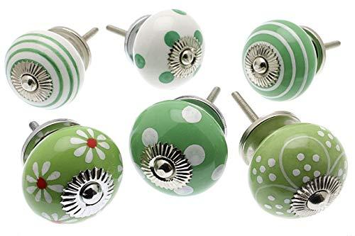 Mango Tree - Pomelli in ceramica per porta, colore: Verde mela e bianco (set da 6)