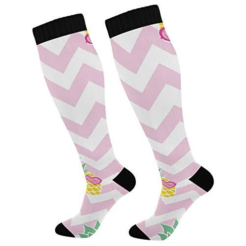PUXUQU Socken Strümpfe Süß Sommer Ananas Herren Damen Kniestrümpfe Socken 2 Pack