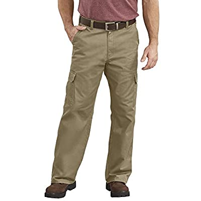 Dickies Men's Loose-Fit Cargo Work Pant, Khaki, 44W x 32L