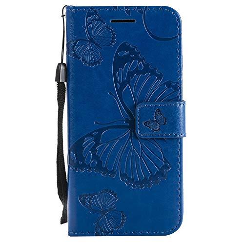 HHF Teléfono móvil Accesorios para Huawei P30 P20 Pro P20 Pro P30 Lite, Cartera de Cuero Funda para teléfono Funda para Huawei Honor 7A 7c 10 Lite (Color : Blue, Material : For P20 Lite)