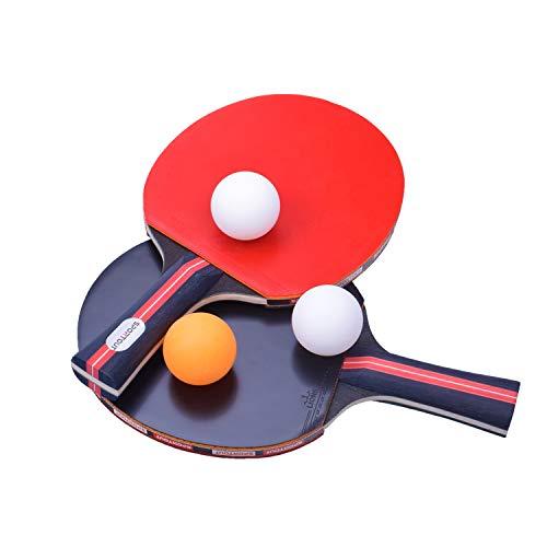 Easy-Room Tischtennisschläger, Tischtennis Set, 2 Tischtennis-Schläger und 3 Tischtennis-Bälle(Logo von Sportout) (Beginner Play)