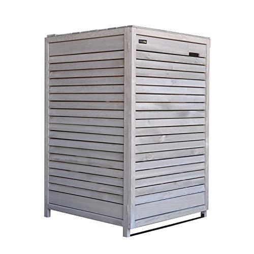 Lukadria Mülltonnenbox Mülltonnenverkleidung Mülltonnecontainer Holz 120L - 240L vorimprägniert in hell-grau mit Rückwand Mod.Adria (1 Tonne)