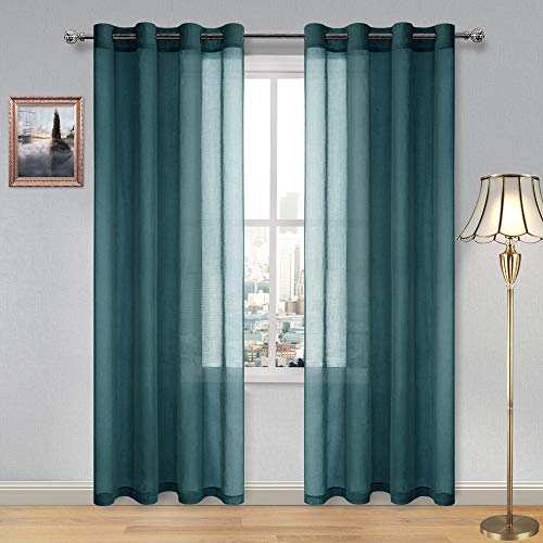 DWCN Hunter Green Sheer Curtains for Living Room Bedroom - Faux Linen Look Voile Drapes Grommet Top Window Curtain Panel 52 x 84 Inches Long, Set of 2 Panels