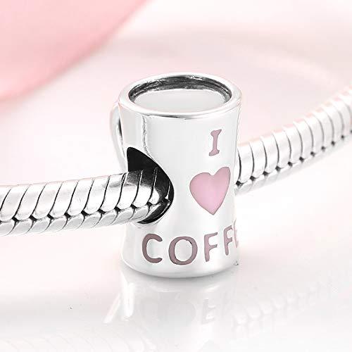 ZDJDMZ Hohlperlen Perlen 925 Sterling Silber Nachmittag Zeit Ich Liebe Kaffee Perlen Fit Original Charms Armband Armreifen Schmuckherstellung