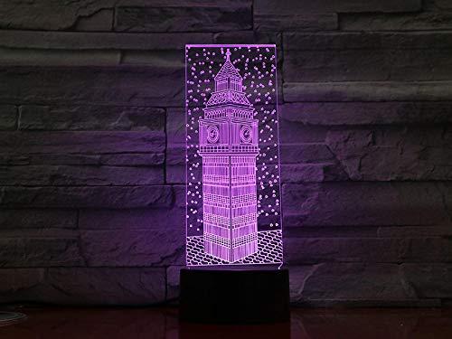 Lámpara de ilusión 3D Luz de noche LED La luz de noche de la torre Elizabeth con lámpara de mesa Ben grande Control de cabecera Cambio de color Decoración de dormitorio para niños Regalo