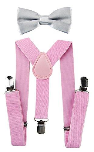 axy Kinder Pink Hosenträger-Y Form mit Fliege- 3 Clips EXTRA STARK (Pink Hosenträger + Lichtgraue Fliege)