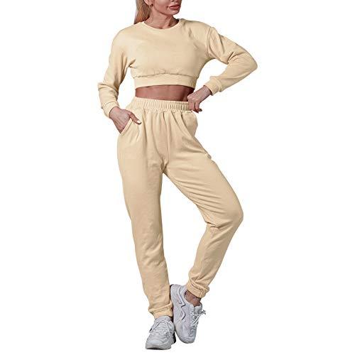Litthing 2Pcs Donna Tuta Sportiva Tuta da Ginnastica Donna con Felpa e Pantaloni Tuta Casual per Sport Fitness Jogging Yoga (Beige, s)
