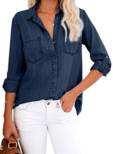 Coravizz - Camisa vaquera informal para mujer, con botones azul L