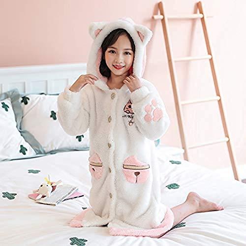 Uymkjv Pijama cálido de Franela de Albornoz para niña, Albornoz de un Solo botón con Capucha de Princesa, Ropa de hogar para niños pequeños