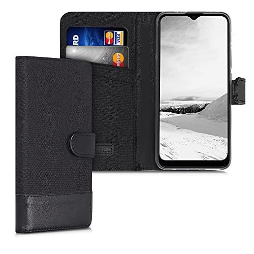 kwmobile Wallet Hülle kompatibel mit Motorola Moto G30 / Moto G20 / Moto G10 - Hülle mit Ständer - Handyhülle Kartenfächer Anthrazit Schwarz
