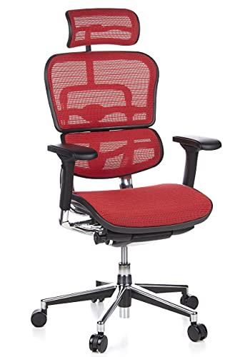 hjh OFFICE 652120 silla de oficina ERGOHUMAN tejido de malla rojo, amplios ajustes, sólido aluminio pulido, ergonómico